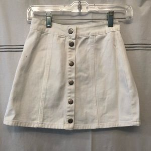Brandy Melville White Denim Button-Up Skirt